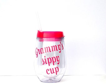 Grammy gift, grammys sippy cup, christmas gift for grandmas, funny grandma gift, Mother's Day gift for grandmas, grandma wine glass