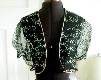Vintage 1950s Black Net Shrug / Bolero Top with Opalescent Green Sequins
