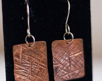Hammered Textured Copper Dangle Earring