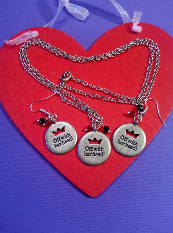 Alice in Wonderland Charms, Alice in Wonderland Earrings, Off With Her Head, Queen of Hearts Quotes, Storybook Jewelry, Unique Fun Jewelry