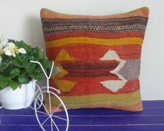 16x16  kilim pillow hand woven pillow wool cushion - 081a