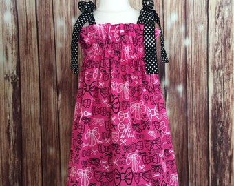 Hot Pink and Black sundress with bows designs,  Hot Pink and black girl dress, Sundress for girls