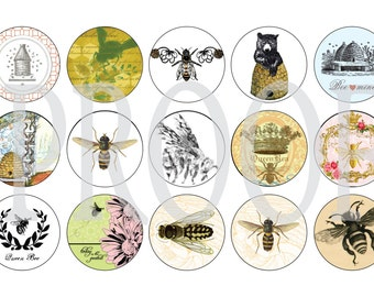 Digital Bottle Cap Image Sheet - Vintage Bee - 1 Inch Digital Collage - Instant Download