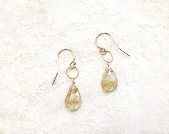 Rutilated Quartz Teardrop Earrings, 14k gold-fill