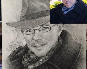 Original realistic custom portrait by pencil drawing fine art