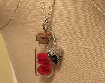 Tiny hearts in a Bottle Necklace