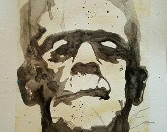 Frankenstein watercolor painting 9x12