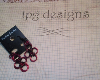 2-92 Red and black chain maille earrings