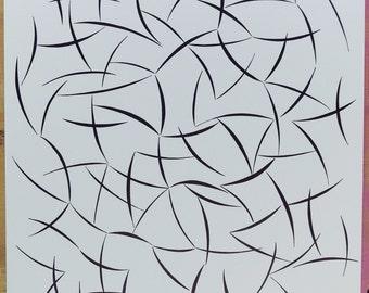 "original abstract ink drawing 11""x14"""