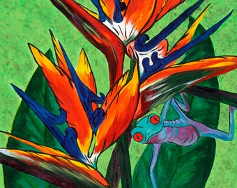 Bird of Paradise Giclee Print, Frog, Whimsical Art, Home Decor, Wall Art