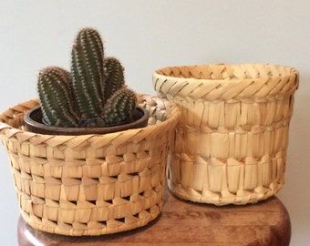 vintage, pair of straw baskets, made in india