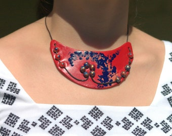 Artistic Necklace/ Red hand-painted necklace/ Bib necklace/ Original Necklace/ Unique Necklace/ Distinctive Necklace / Chic Necklace