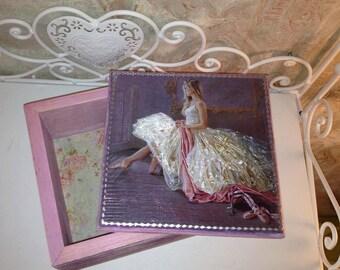 Jewelry Box Ballerina, Wooden Jewelry Box, Vintage box, Pink trinket box, Wood Box Ballerina, Pink jewelry box, Jewelry box for girl