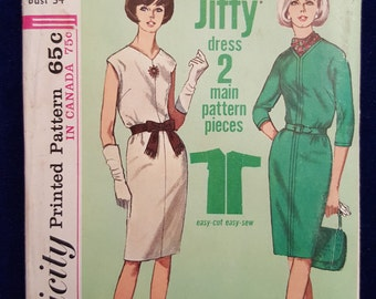 Vintage Jiffy Simplicity dress pattern 6224 Miss Size 14