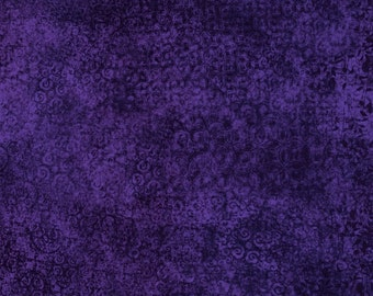 Quilting Treasures Fabric  - Scrollscapes - Dark Purple - Cotton fabric by the yard