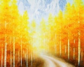 Aspen Trees Lane Colorado Mountain Art Print Fall Leaves Yellow Trees  Bathroom Livingroom Office Oil Art Work Traditional Mistery Lane