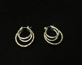 Vintage Earings, Pierced, Hoops, Triple