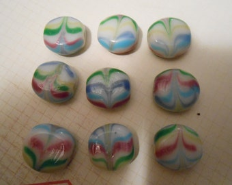 Set of 9 Handpainted Glass Beads