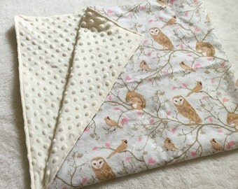 Cream and Brown Owls Soft Minky Baby Blanket, Toddler Blanket