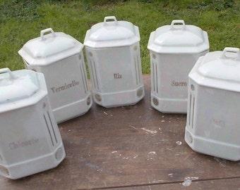 set of 1930s French kitchen jars, vintage, pearlised finish