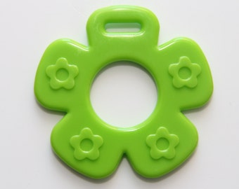 Green Flower Ribbon Attached Baby Teether