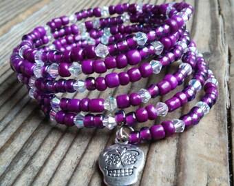 Beaded skull bracelet