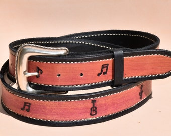 Music Note Leather belt