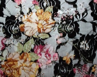 Floral Print 2 way stretch lace Fabric