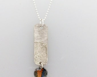 Silver Textured Oblong with Rainbow Coloured Disc Sterling Silver Necklace