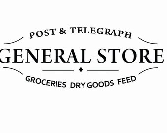 Digital Download Vintage General Store Sign Wood Transfer Iron On Clip Art; 1040