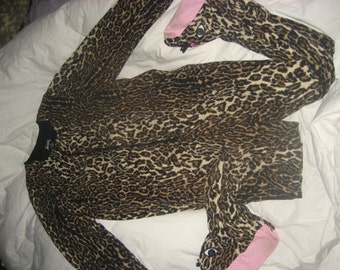 Footie PJs/Kids Style Leopard/Cheetah ADULT one piece Pajamas with Feet