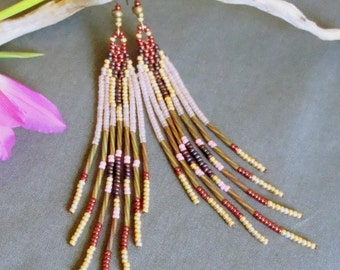 Woven beads, fringe, Amerindian ethnic style earrings