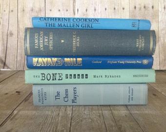 Blue Turquoise Teal Ocean Vintage Books | Wedding Centerpiece | Wedding Decor Centerpiece | Wedding Decoration