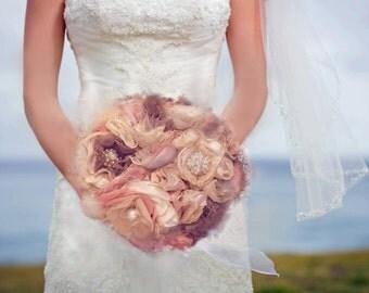 Bouquet de mariage,Lace fabric bouquet, blush bride bouquet,  brooch bouquet,vintage style,Fabric Brooch Bouquet, Custom Brooch Bouquet