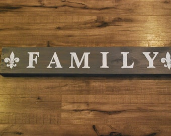 Family wood sign gray with white lettering