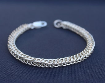 Sterling Silver Half Persian Weave Chainmaille Bracelet