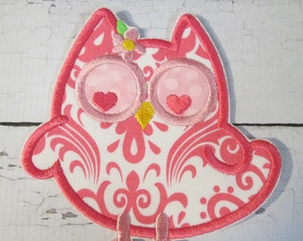 Ready to Ship - Iron On or Sew On Embroidered Boutique Applique - Olivia Owl #889