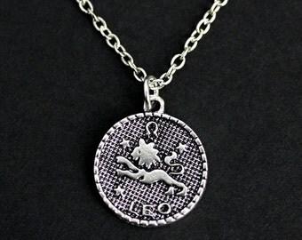 Leo Necklace. Sun Sign Necklace. Leo Charm Necklace. Silver Necklace. Horoscope Necklace. Zodiac Jewelry. Handmade Necklace.
