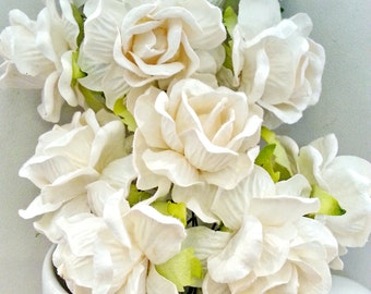 10, 25, 50 pcs.  Large White ROSES mulberry paper flower 4 cm.,scrapbook,home decor,wedding & headband,other crafts