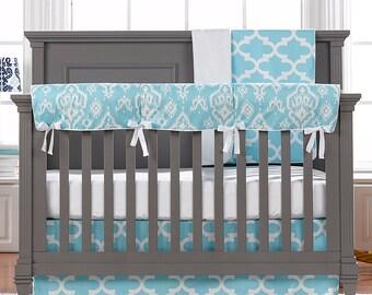 Sky Blue Trellis 4-pc. Crib Bedding Set   Bumperless Crib Bedding