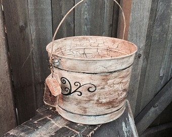 Rustic Antiqued Primitive Bucket