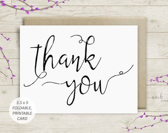 Thank You 3.5x5 Printable Card | Foldable Card | Instant Download | Digital PDF