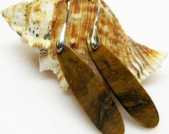 Pieterisite Gemstone Earrings - Golden Brown Earrings - Long Dangle Earrings - Brown Jewelry - Womens Earrings - Fall Jewelry - GEM-08