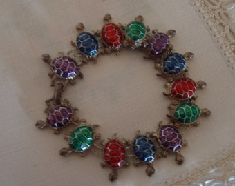 Vintage Enamelled Turtle or Tortoise Bracelet - Bright Red Green and Purple - Sliver Tone Metal