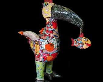 Big bird, gifts for bird lovers,  bird figurine, best gift idea, colorful birds, bright bird, beautiful bird, pterodactyl, poultry and fish