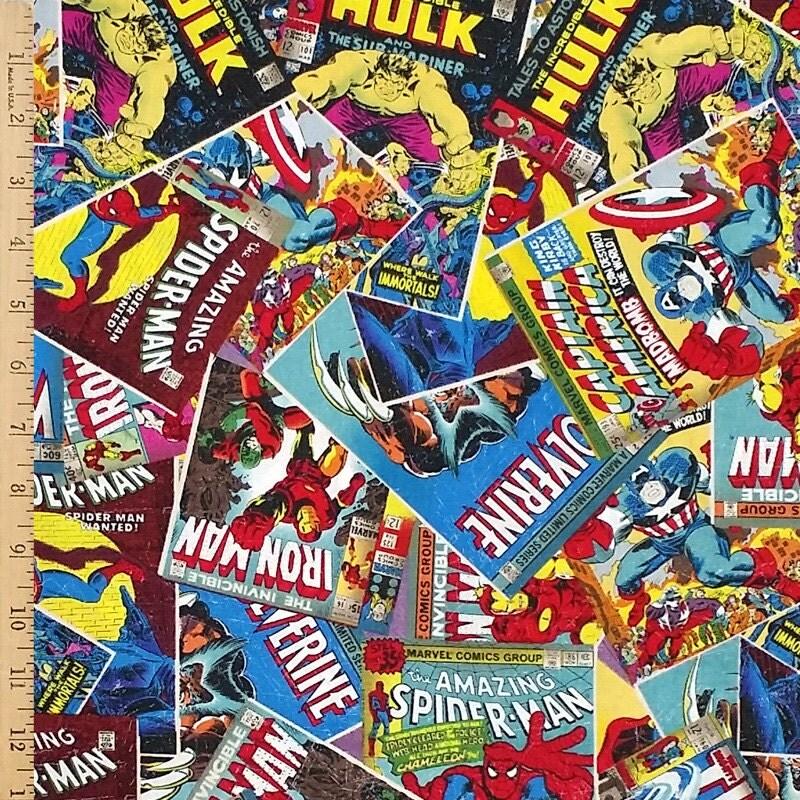Marvel Comics Fabric Marvel Retro Comic Cotton Fabric Super