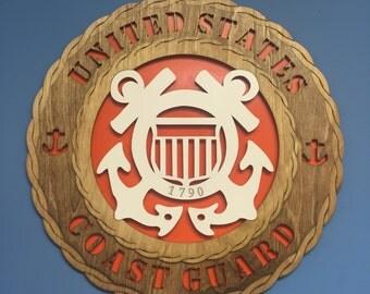 "Custom Large 18"" Wood Coast Guard Wall Tribute - FREE SHIPPING!"