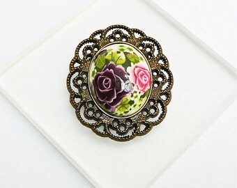 Retro oval pin pink polymer clay