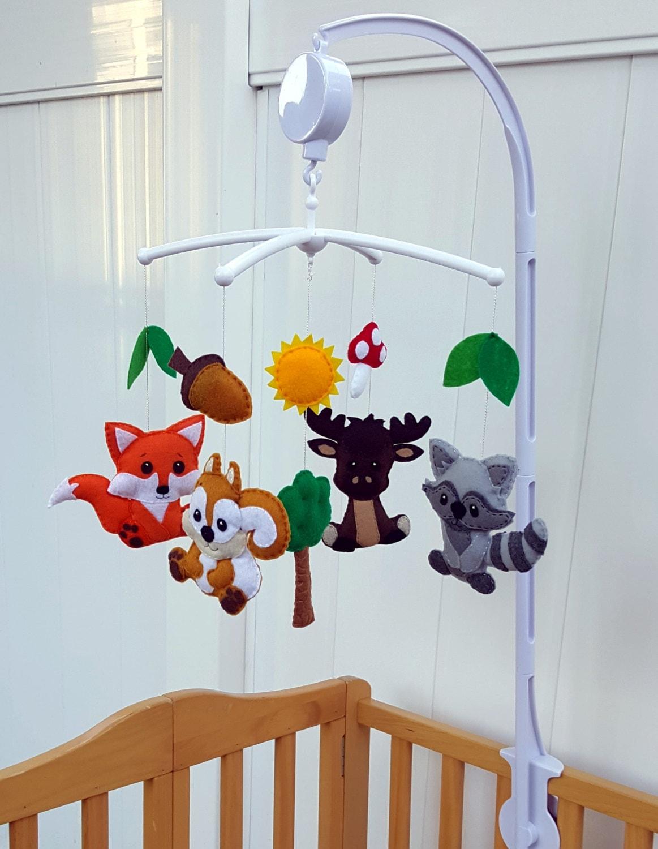 Forest animals crib mobilewoodland animals baby mobilebaby for Woodland animals nursery mobile
