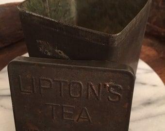 Vintage 1930's Lipton's Tea Tin Canister Tea Bag Container